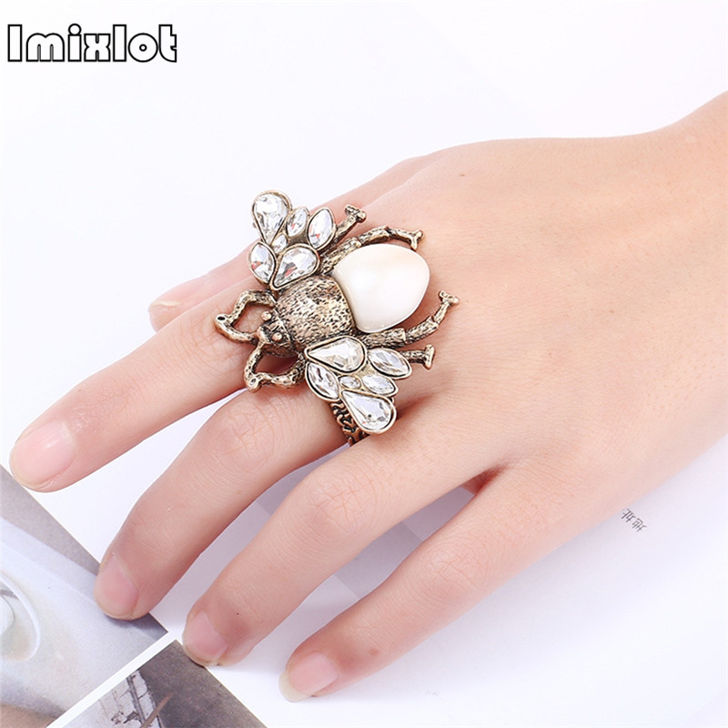 Adjustable big bee finger Rings For Women summer jewelry antique gold white insect brand finger rings