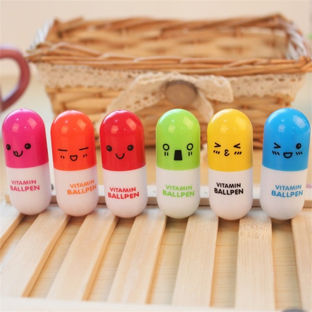 Colorful Novelty Stationery Cute Smiling Face Pill Ballpoint Pen Lovely Telescopic Vitamin Capsule Ball Pens School Child Gift Banner Pens