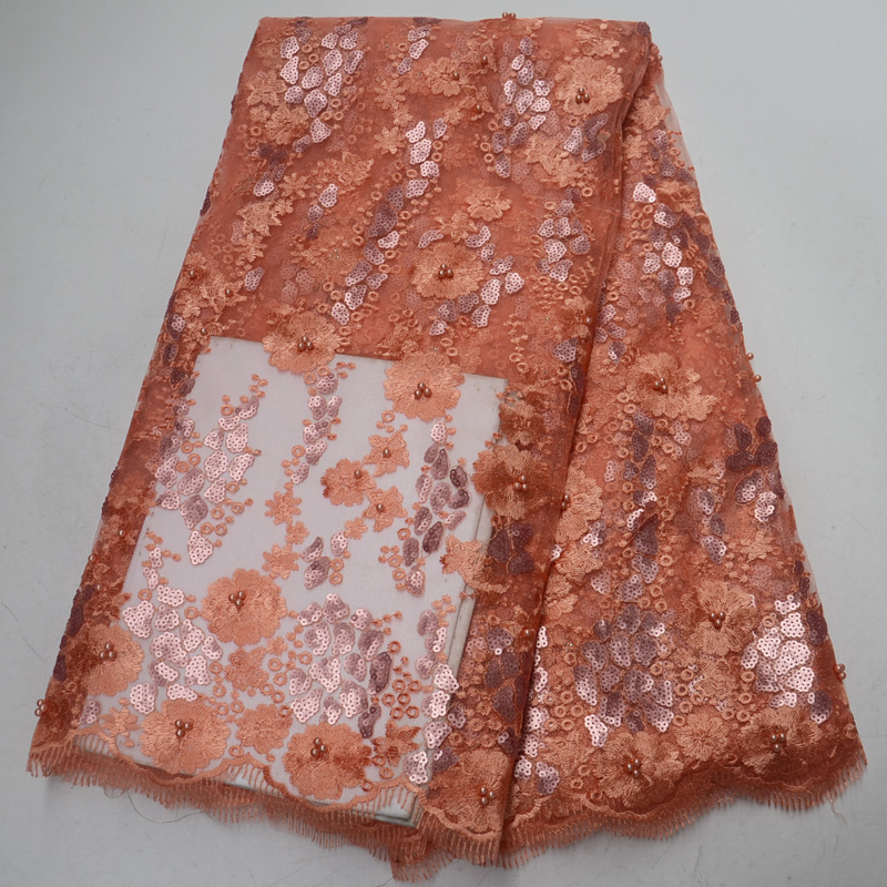 5yards pc High quality peach color African French net lace fabric with beautiful sequins embroidery