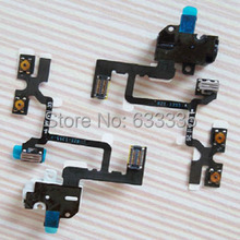 Free Shipping Headphone Earphone Audio Jack Volume Button Flex Cable for iPhone 4 4G Mute Silent