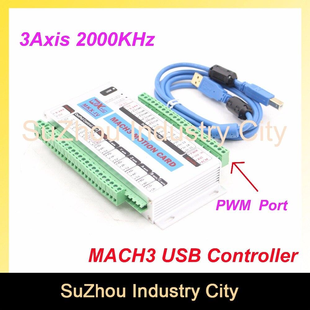 Livraison Gratuite 3 Axes MACH3 USB CNC Carte De Commande De Mouvement fréquence 2000 KHZ CNC support Du Contrôleur moteur pas à pas et servo moteur.