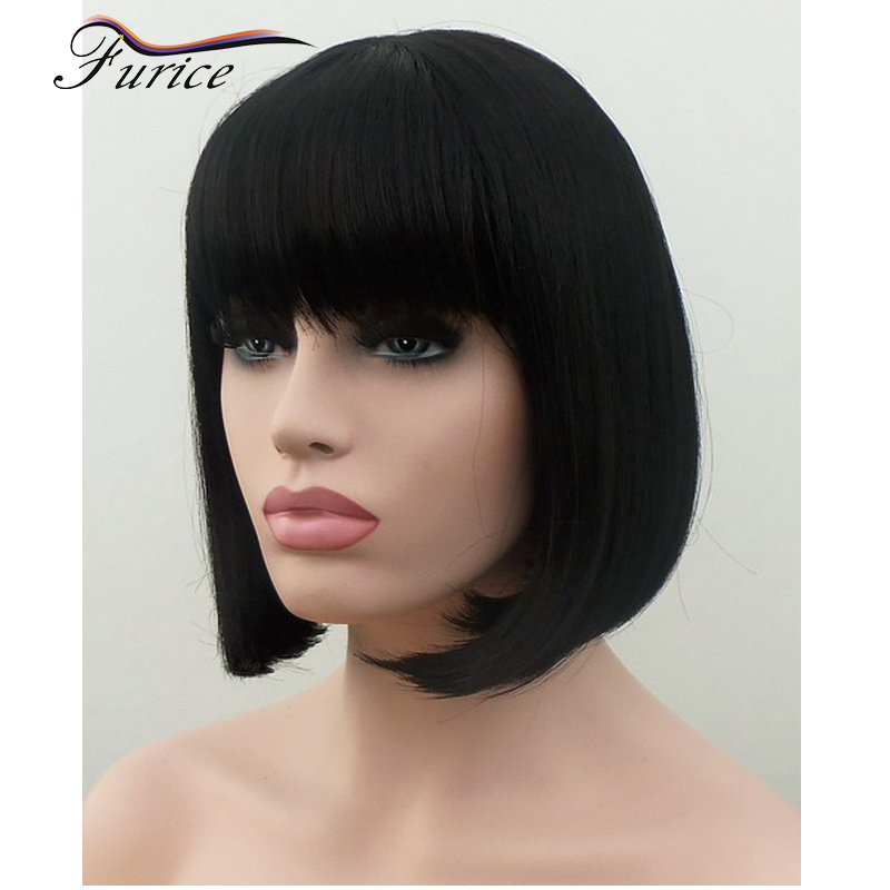 Women Short Wigs Short Hairpiece With Bangs For Black