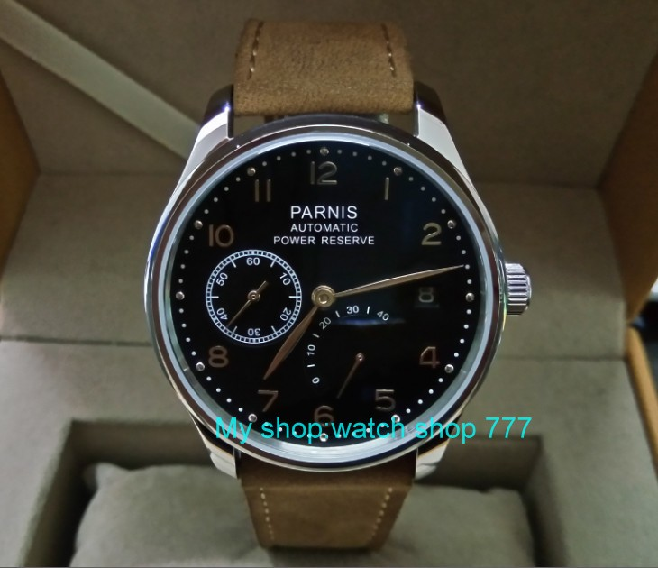 43mm PARNIS Black dial Automatic Self-Wind Mechanical movement men's watch Auto Date power reserve Mechanical watches 206A 43mm parnis black dial automatic self wind mechanical movement power reserve mechanical watches men s watch x00066