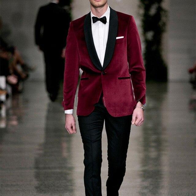 Red velvet Tailcoat tuxedo jacket men suit Groom Tuxedos Groomsmen ...