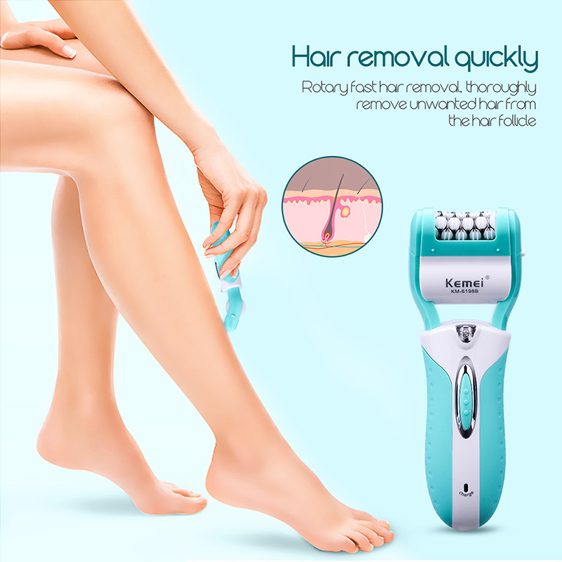 Image 5 - 220 240V Rechargeable 3 In1 Lady Shaver Epilator Multifunction Electric Women Shaver Razor Callus Remover Foot File Pedicure Kit-in Epilators from Home Appliances