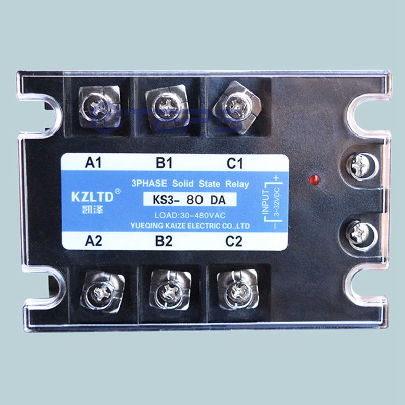 Three-phase solid state relay 80A DC to AC non-contact contactor relay 380V high quality ac ac 80 250v 24 380v 60a 4 screw terminal 1 phase solid state relay w heatsink