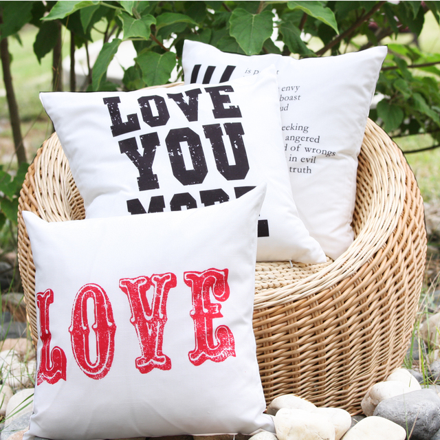 2017 Love You More Quote Linen Look Decorative Pillow Cover Lover Is  Patient Wedding Throw Pillow