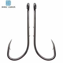 Easy Catch 100pcs 92247 Fishing Hooks Black Offset Long Barbed Shank Baitholder Bait Hook Size 1 1/0 2/0 3/0 4/0 5/0 6/0