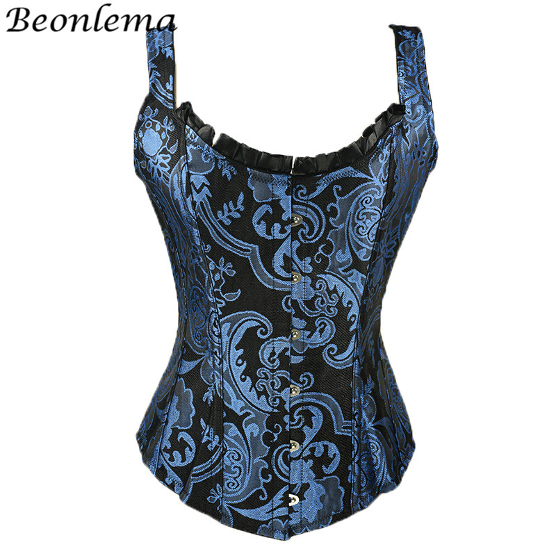 BEONLEMA Blue Black Steampunk   Corset   Top Embroidery Shiny Overbust   Bustier   Vest Kose Body Slimming Gothic Clothing Disfraz Sexy