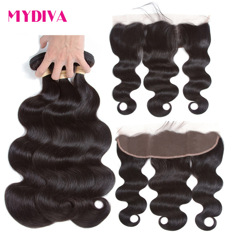 Mydiva Brazilian Body Wave Hair With Lace Frontal Closure 100% Human Hair 3 Bundles With Frontal Closure Non Remy Hair Extension