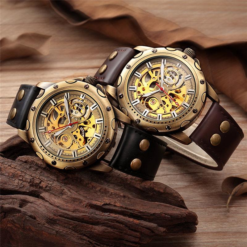 HTB1VhhgaVP7gK0jSZFjq6A5aXXac Men Watch Skeleton Automatic Mechanical Male Clock Top Brand Luxury Retro Bronze Sport Military Wristwatch relogio Masculino
