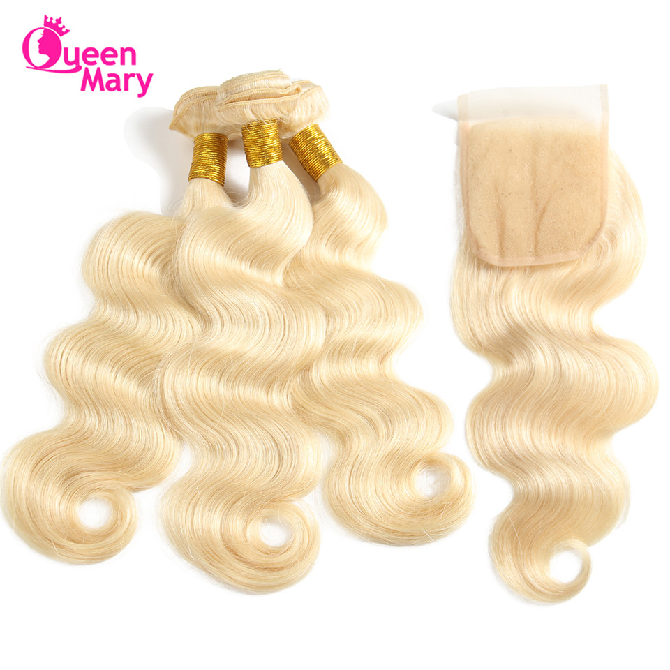 Queen Mary Hair Blonde Bundles With Closure 613 Bundles With Closure 4 Bundles/Lot Body Wave Bundles With Closure Non Remy Hair