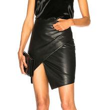 Cool  Women Autumn Winter PU Leather High Waist Bodycon Wrap Split Skirt Sexy Ladies Party Mini Clubwear S-XL