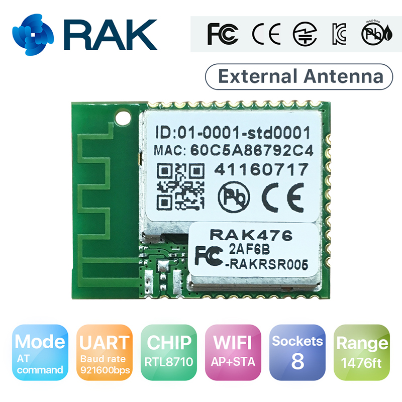 Q113 RAK476 Low Power Serial UART TTL to Wifi Module Serial to Wireless Module Converter Integrated with Internal Antenna ttl turn rs485 module 485 to serial uart level mutual conversion hardware automatic flow control