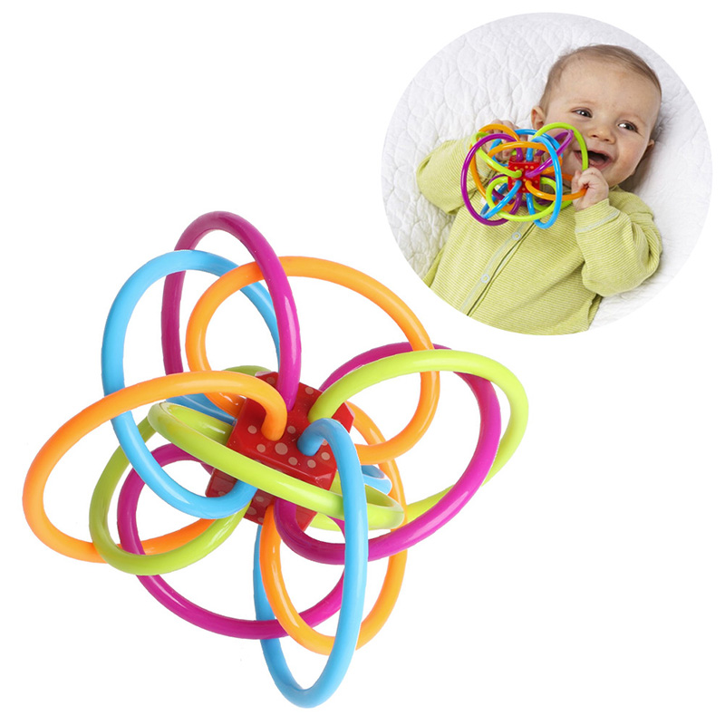 Safety Baby Rattles Teether Toy Bars Biting Bells Silicone Teething Appease Toys