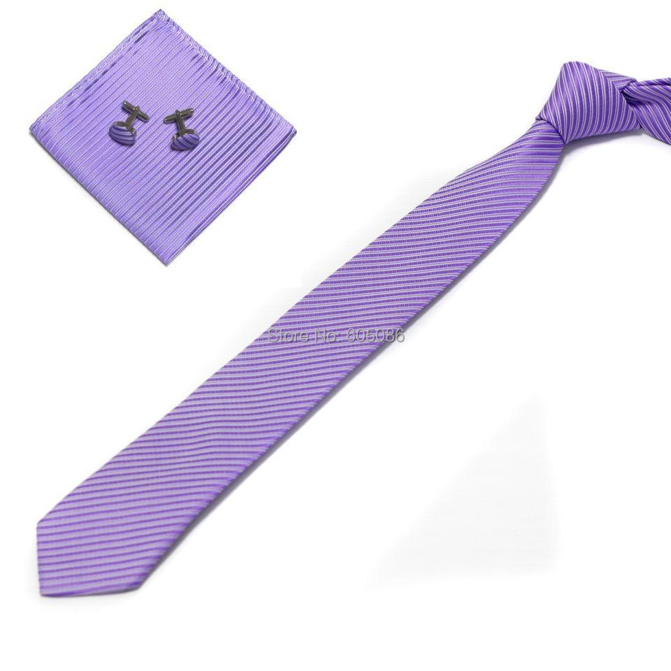 HOOYI 2018 Solid polyester slim neck tie set for man Hanky Handkerchiefs cufflinks