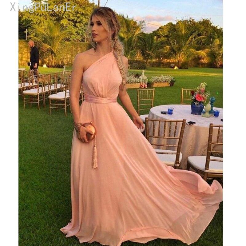 Robe de soirée une épaule Simple élégante robe De Designer longue robe de soirée en mousseline De soie or Rose PromDress robe formelle de Festa