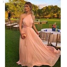 robe de soiree One Shoulder Simple Elegant Designer Dress Long Evening Rose Gold Chiffon PromDress Formal Vestido De Festa