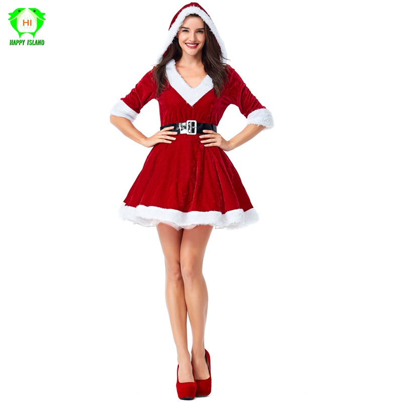 Adult Women Santa Claus Costumes Red Hooded Dress Christmas Cosplay Costume Xmas Party Festival Season Dress Up