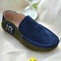 Menino de Couro Genuíno Camurça de Couro Sapatos de Esportes Recreativos de Correspondência Estudante Elegante Deslizamento Respirável Rua Bonito selvagem