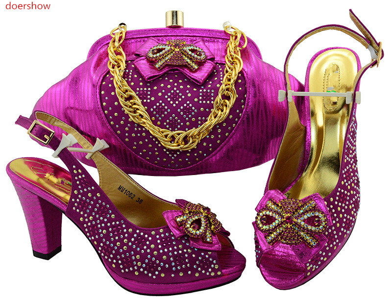 doershow Latest Design Matching Italian Shoe and Bag Set.fuchsia Wedding and Party African Shoes and Bag Set for Part SIU1-26 doershow italian shoe with matching bag silver african shoe and bag set new design matching shoes and bags for party bch1 6