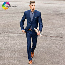 купить Custom Made Navy Blue Men Suits for Business Slim Fit Groom Tuxedo Wedding Suit for Men 2Piece Jacket Pants Costume Homme Ternos по цене 3385.04 рублей