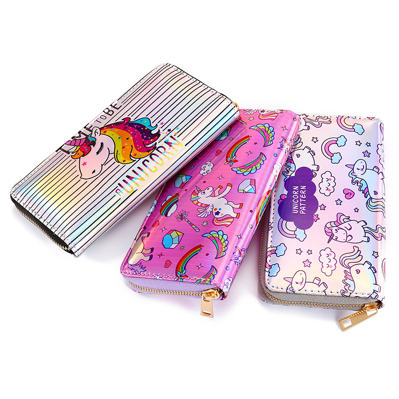 Fashion Unicorn Cartoon Women Card Holder Long Wallet Retro Laser Hologram Girls Phone Zipper Clutch Coin Purse Pocket Money Bag