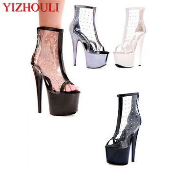 20 cm high heel boots, sexy sequins, black platform boots, transparent club fashion women's boots image