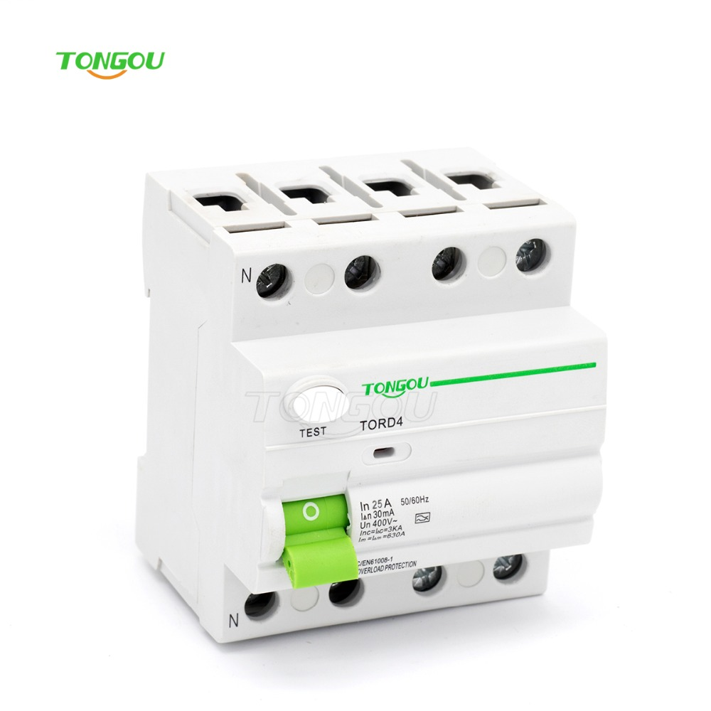 4P 25A 30mA 220V 380V AC Magnetic type Residual Current Circuit breaker RCD RCCB 400 amp 3 pole cm1 type moulded case type circuit breaker mccb