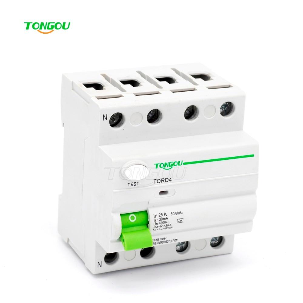 4P 25A 30mA 220V 380V AC Magnetic type Residual Current Circuit breaker RCD RCCB 25a 4p rccb circuit breaker cdl7 63 delxi