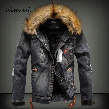DIMUSI Winter Jacken Herren Jeansjacke Faux Pelz Stehkragen männlichen Retro Zerrissene Fleece Dicken Warmen Jeans Jacke und Mantel 4XL, TA03