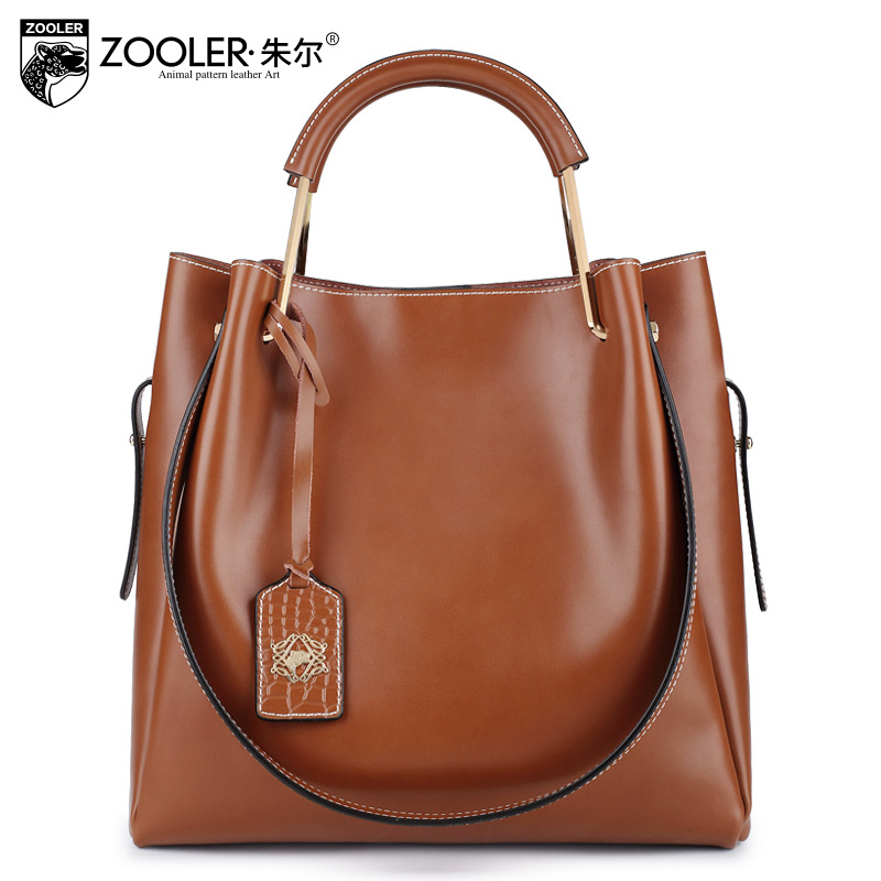 ZOOLER Women Genuine Leather Top Handle Handbag Ladies Casual Vintage Tote Bags for Women Large Capacity Street Office Tote Bag zooler black genuine leather top handle handbag leisure simple large capacity tote bag ladies fashion sac a main femme de marque