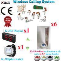 Kabellosen Kellner-benennendes System Mit Ruftaste Wireless Pager Menü Uhr Empfänger (1 display + 1 uhr + 6 taste + 6 menühalter)