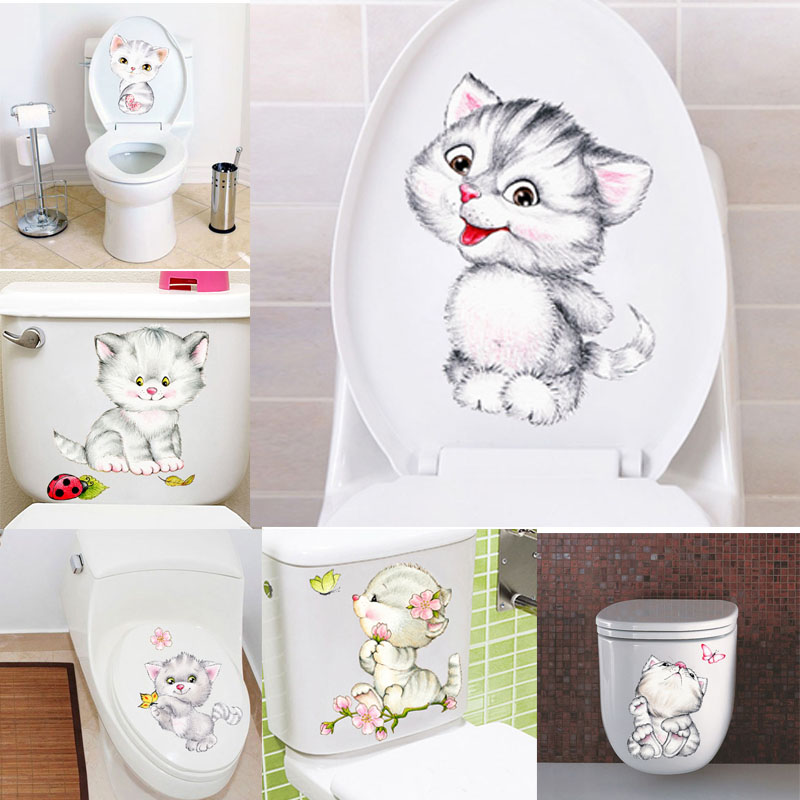 & Lovely animal Cats flowers Butterfly Wall Stickers Home Decoration PVC Tolite Bathroom Decor Animals Wall Sticker Mural Art