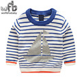 Retail 1-6 years knitted sweaters cartoon sailboat striped baby kids children Clothes Infant Garment spring autumn fall