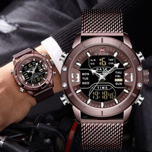 2019 NAVIFORCE التناظرية الرقمية الساعات الرجال الفاخرة العلامة التجارية الفولاذ المقاوم للصدأ الرياضة ساعات رجالية رقمية مقاوم للماء رجل ساعة الرياضة