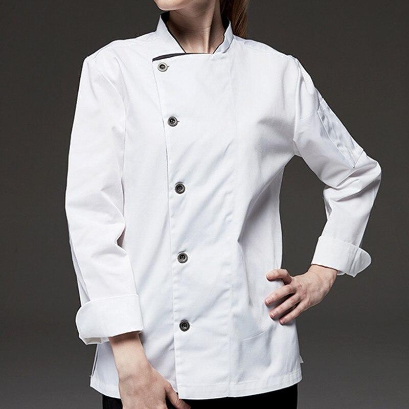 Black White Long Sleeve Chef Shirt D74-5