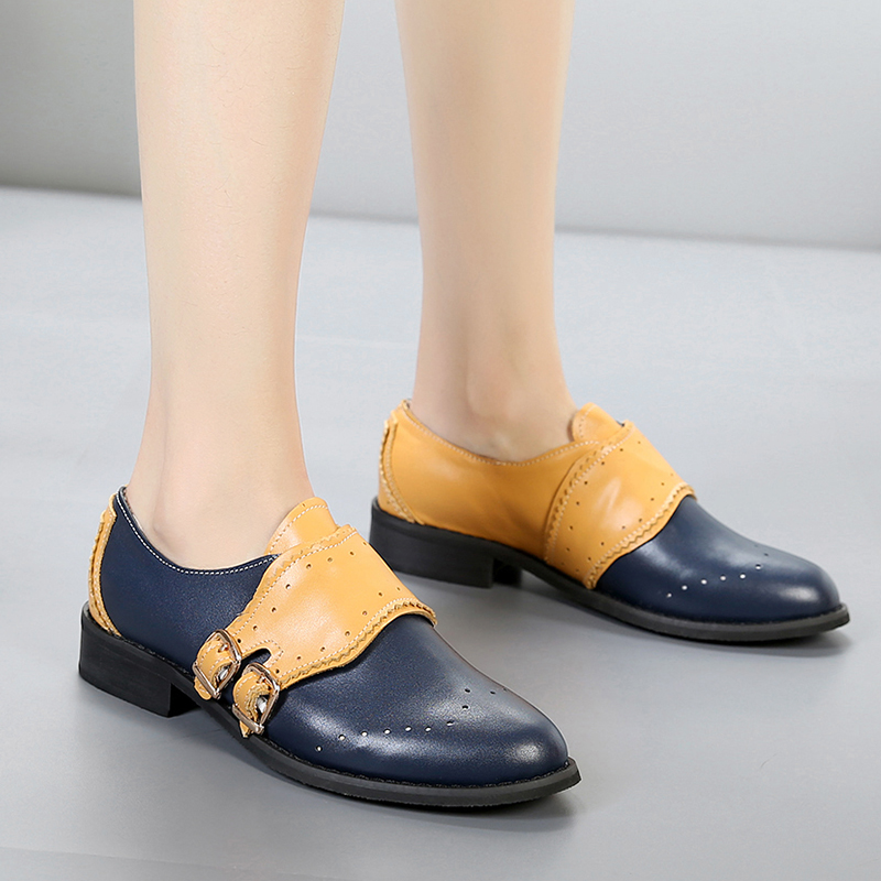 Women Flats Oxford Shoes Woman slipon Genuine Leather Sneakers Ladies Vintage Casual buckle Shoes Oxfords Shoes