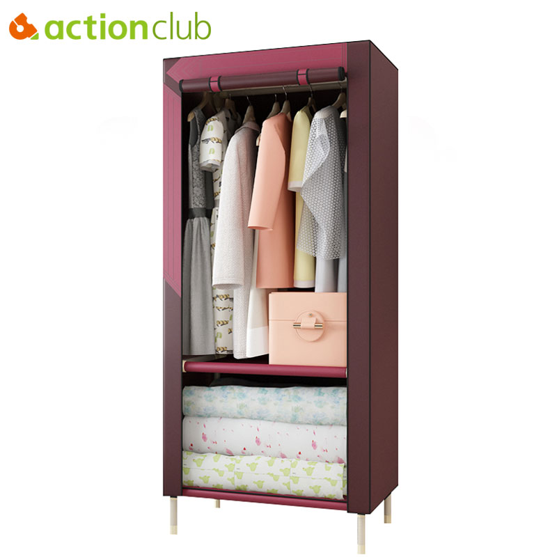 Actionclub Simple Cloth Wardrobe Steel Pipe Reinforcement DIY Assembled Student Wardrobe Thicken Non-woven Closet Cabinet
