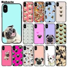 Pug Babaite Princesa Buldogue Francês Smart Cover Macio Preto Shell Phone Case para iPhone 5 5S 6 6 s 7 7 plus 8 8 PlusX XS MAX XR(China)