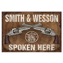 Фотография Smith and Wesson spoken here! tin plate signs vintage metal picture the wall decoration for bar cafe garage