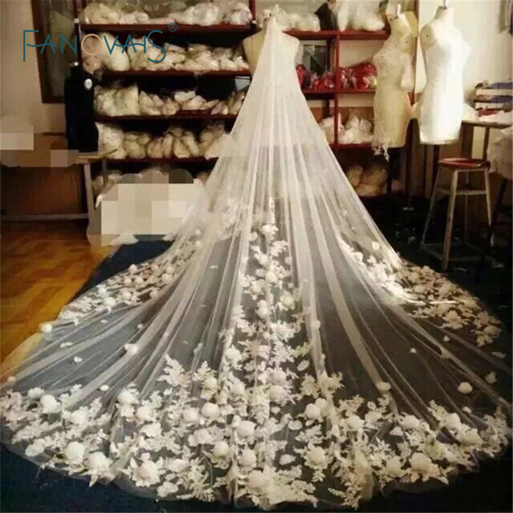Buy 3 meters ivory white bridal veils lace edge flowers for Long veil wedding dresses