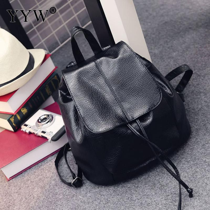 Backpack Black Rucksack PU Leather Bucket Bag Backpack Mini Women Fashion Leisure Casual School Bags Girl Soft Small Teenager