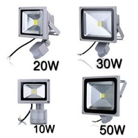 LED Flood Light search projector lamp 10W 20W 30W 50W AC85 265V PIR Motion sensor Sense detective Sensor lamp IP65 Waterproof