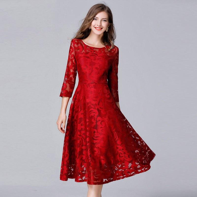 Femmes automne élégant maille rouge dentelle broderie robe de grande taille Vestidos L-5XL grande taille robes grande taille parti bureau dame robe