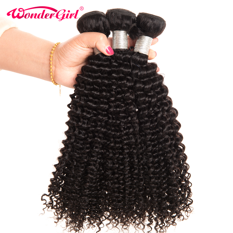 Wonder girl Brazilian Kinky Curly Hair 100% Human Hair Bundles 1 PC Remy Hair 10″-28″ Natural Color