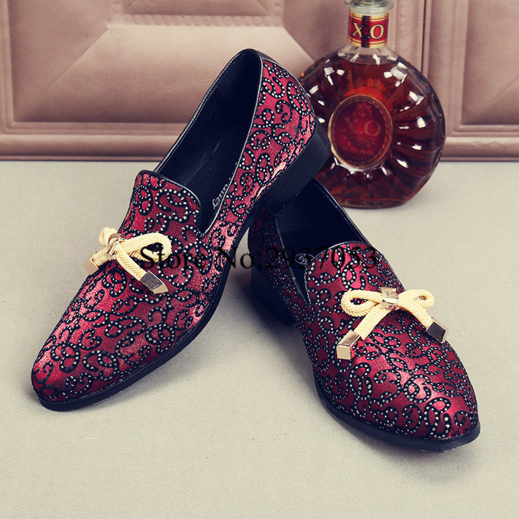 2017 Top Quality Men Shoes Luxury Wine Red Rhinestone Studded Men Loafers Bow Knot High Quality Men Loafers Wedding Flat Dress fashion young man red casual shoes men luxury high top toe mens falts british trend flat heel men s loafers shoes
