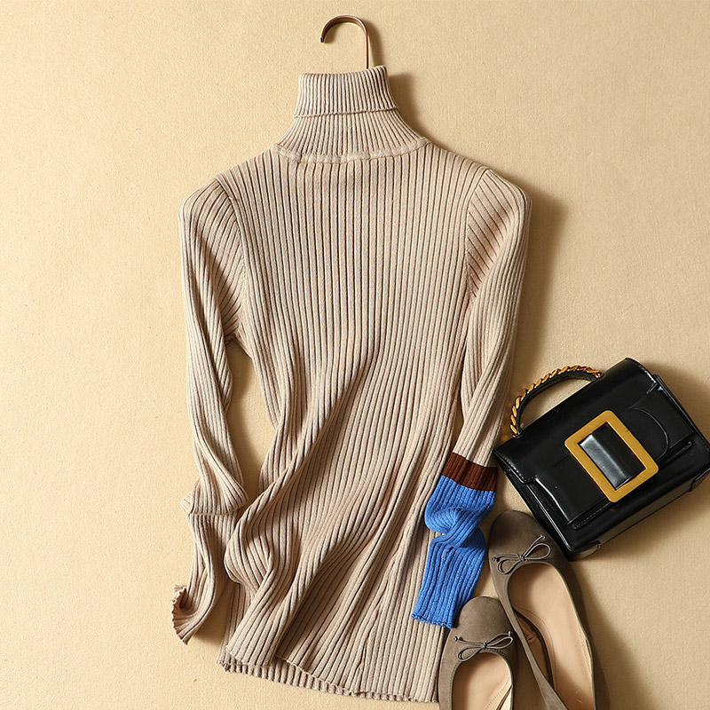 turtleneck women sweaters and pullovers 2019 autumn winter new slim solid lady elegant outwear coat tops