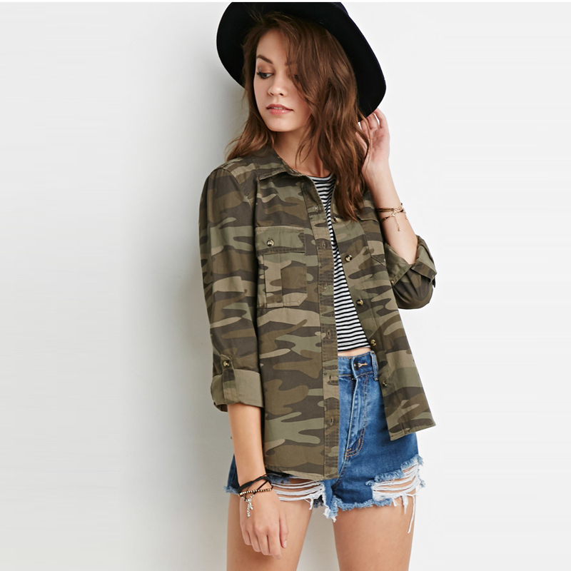 2016Hot Sale Spring Summer Street Military Style Camouflage Double Pocket Concise Slim Female coat Woman Jackets Coat Army A50B1