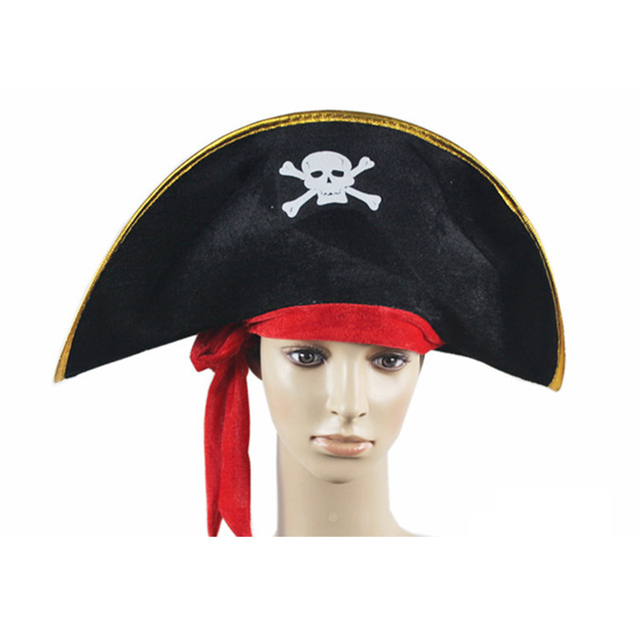 cd39e832d0f Halloween Cosplay Costume Accessories Skull Hat Caribbean Pirate Hat Skull  Pirate Hat Piracy Hat Zorro Cap Party For Adult Kid